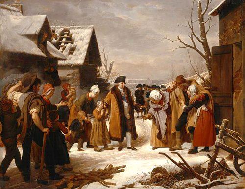 Louis XVI distribuant des aumônes aux pauvres de Versailles pendant l'hiver de 1788, par Louis Hersent